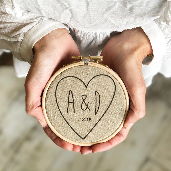 Personalised Love Heart Anniversary Hoop