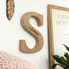 Personalised New Baby Raw Oak Letter