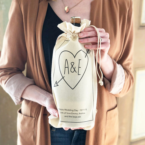 Personalised Wedding Initials Bottle Bag