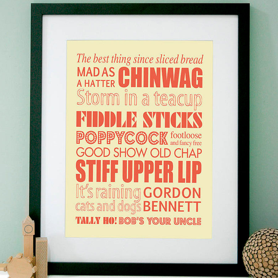 Personalised British Sayings Art Print