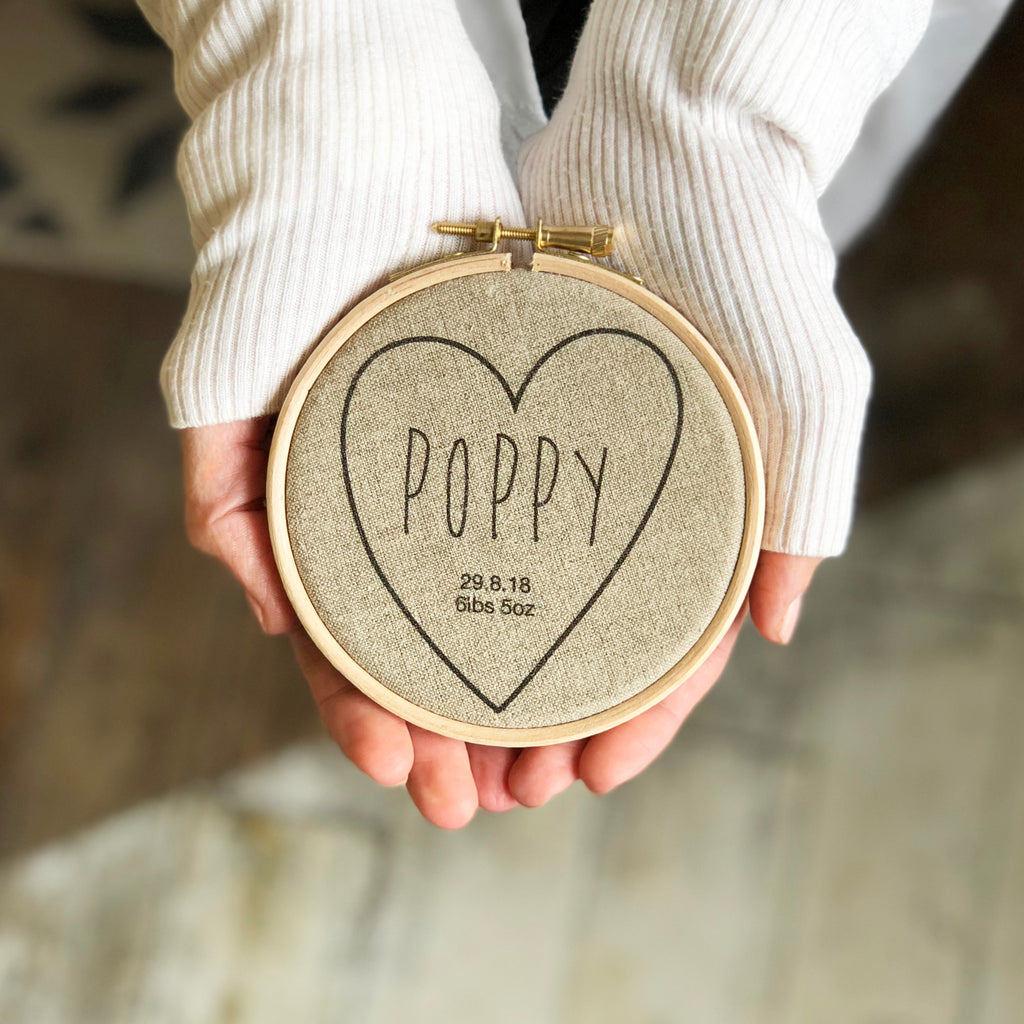 Personalised Love Heart Baby Hoop