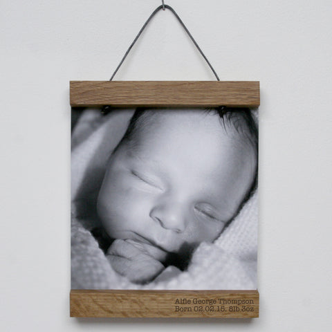 Personalised Oak Picture Hanger With Photo
