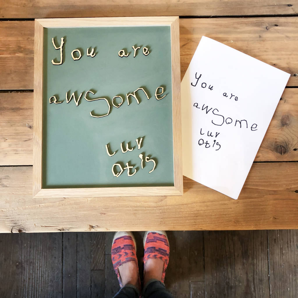 Bespoke Child's Hand Writing Wooden Wall Art