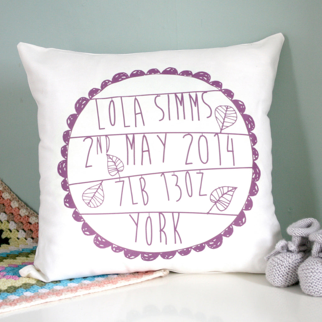 Personalised Baby's Birth Cushion