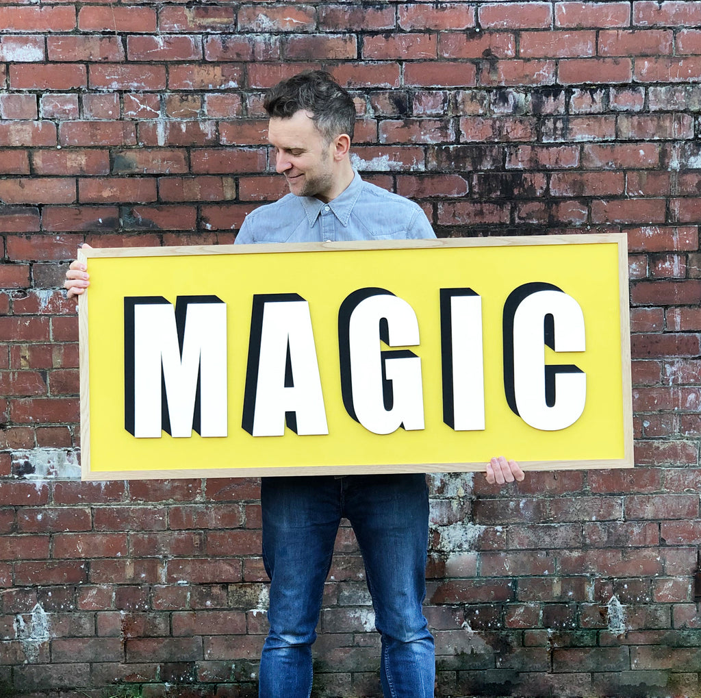 Bespoke Large Painted Wooden Sign - Drop Shadow
