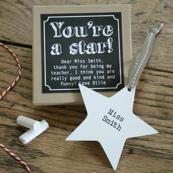 Personalised Wooden Teacher Star