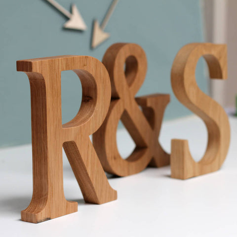 Personalised Couple Initial Oak Letters