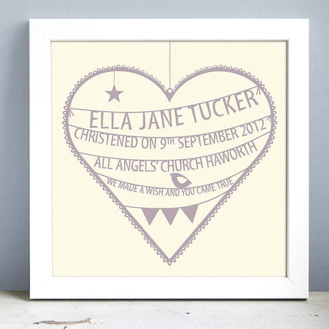 Personalised New Baby Heart Print