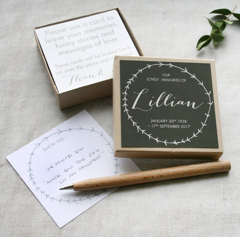 Personalised Funeral Guest Message Box