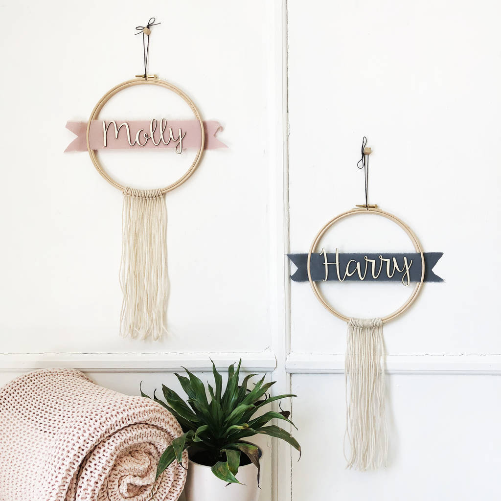 Personalised Name Ribbon And Fringe Hoop