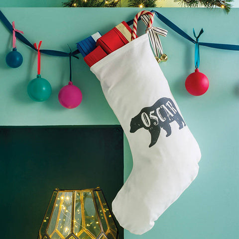 Personalised Polar Bear Name Christmas Stocking