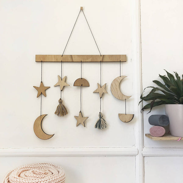Personalised Star, Moon And Tassel Wall Hanging