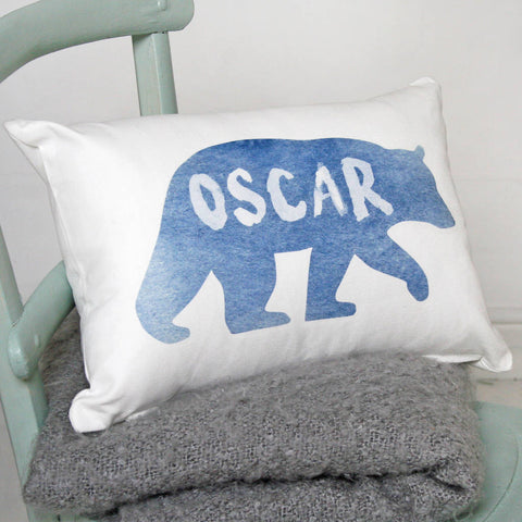 Personalised Watercolour Bear Cushion