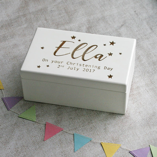 Personalised Wind Up Christening Music Box