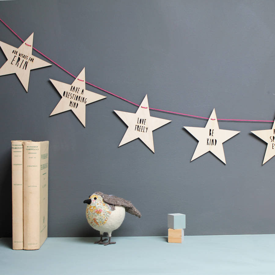 Personalised Wooden Baby Wishes Garland