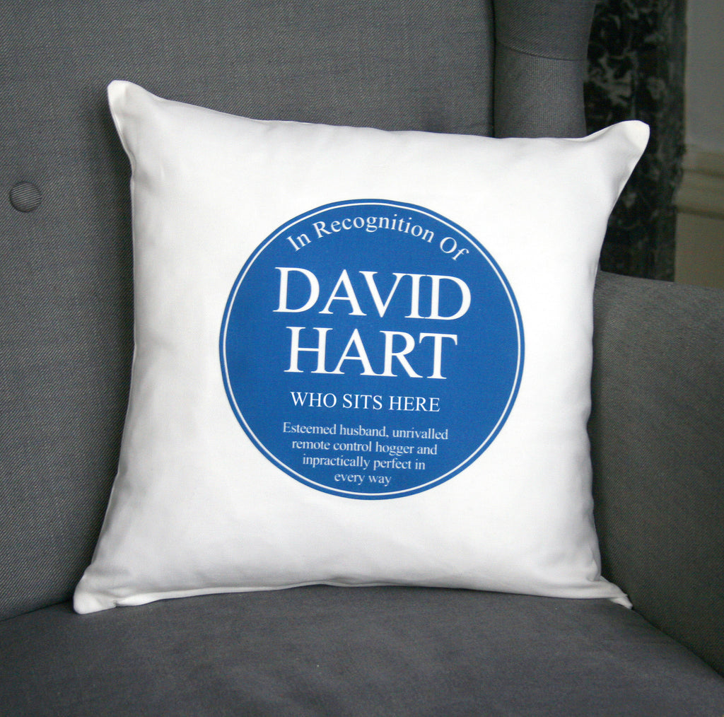 Personalised Blue Plaque Cushion