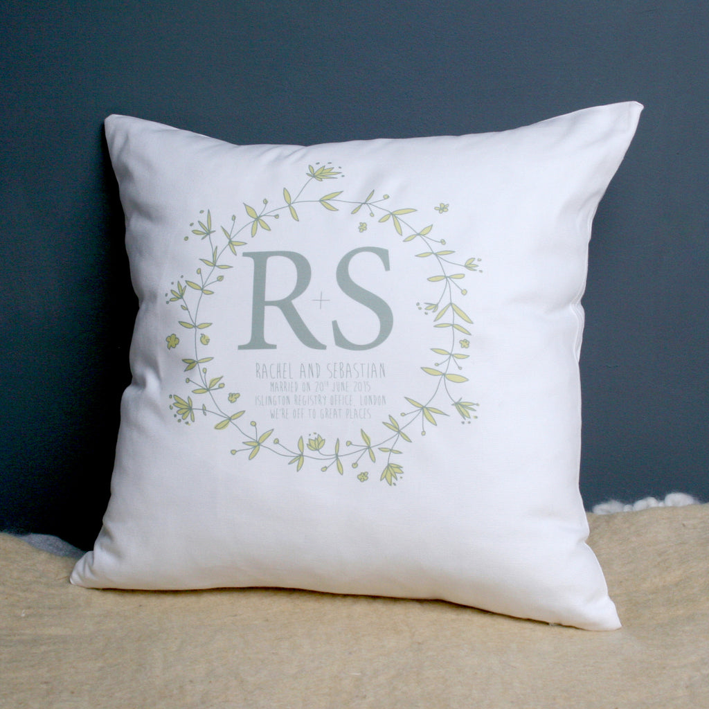 Personalised Wedding Wreath Cushion