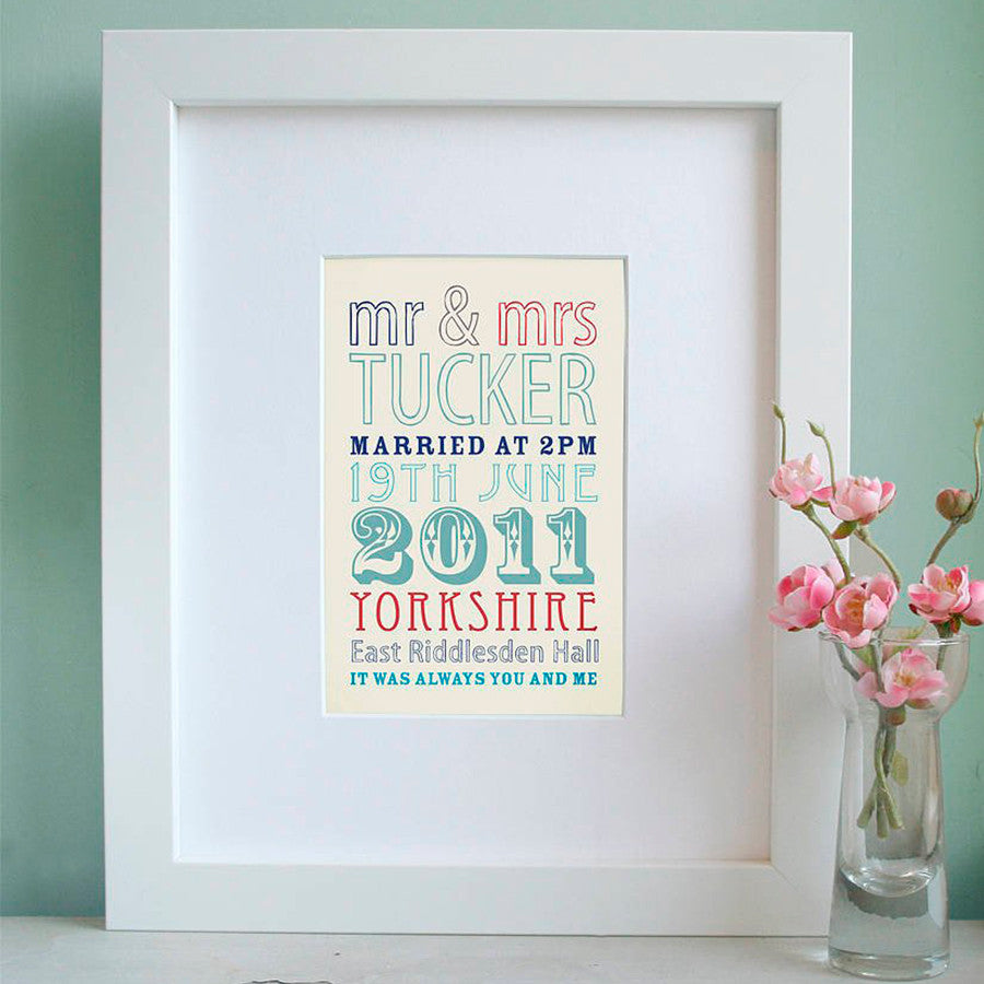 Personalised Wedding Details Print