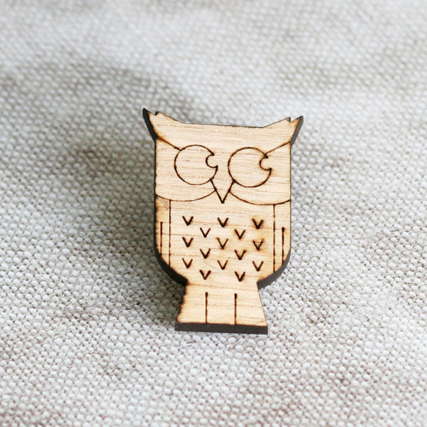 Wooden Owl Pin Badge