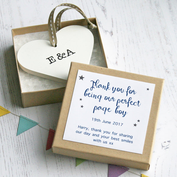 Personalised Page Boy Wedding Heart