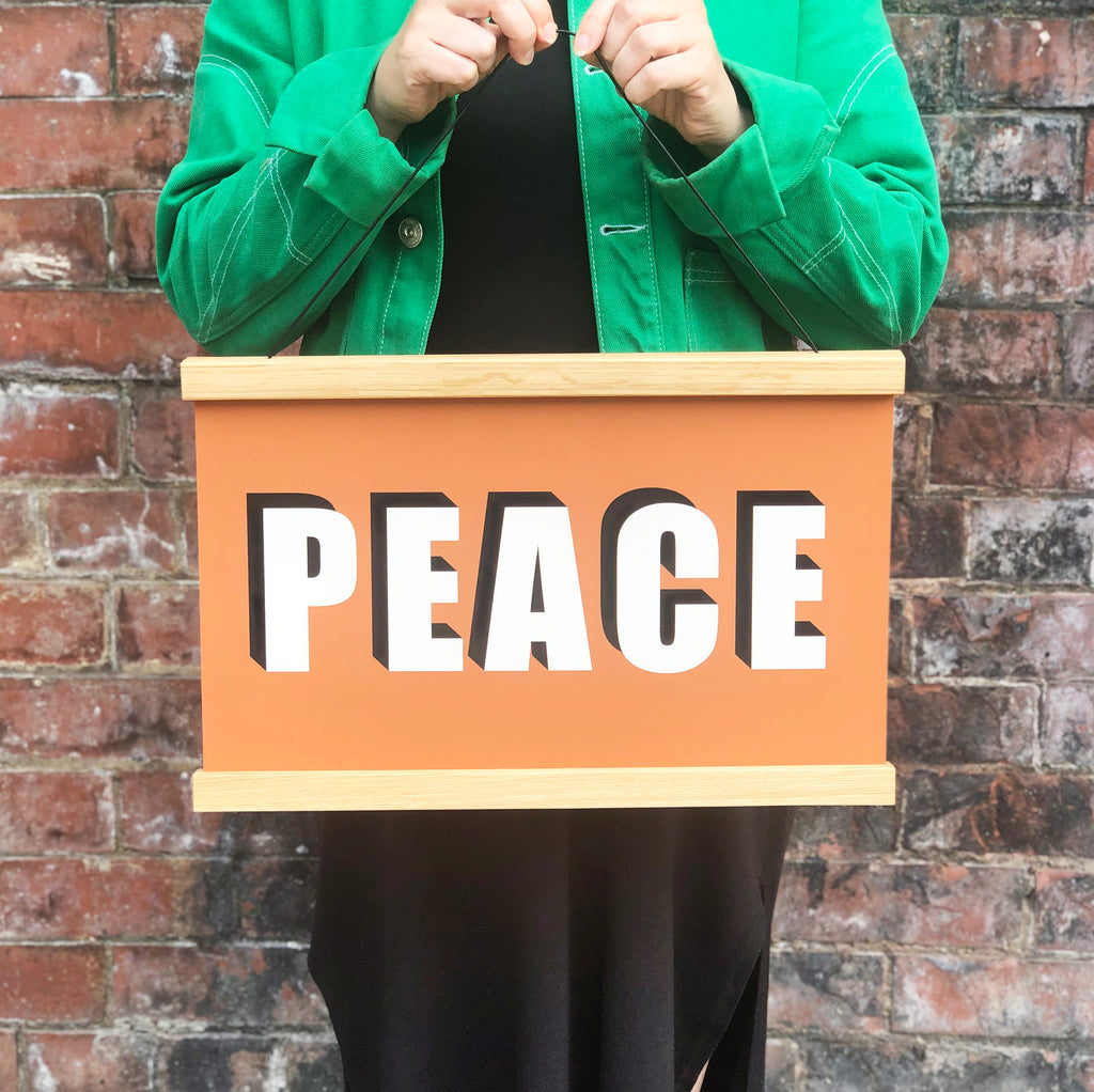 PEACE Hanging Poster Print In terracotta