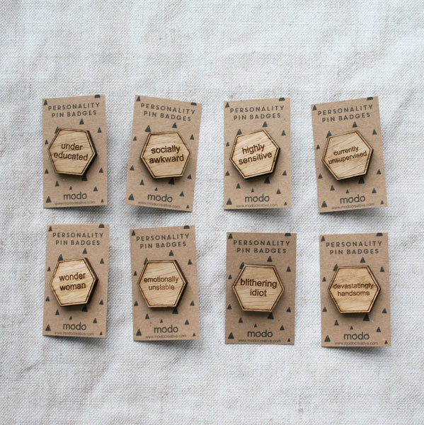 Wooden Funny Personality Pin Badges