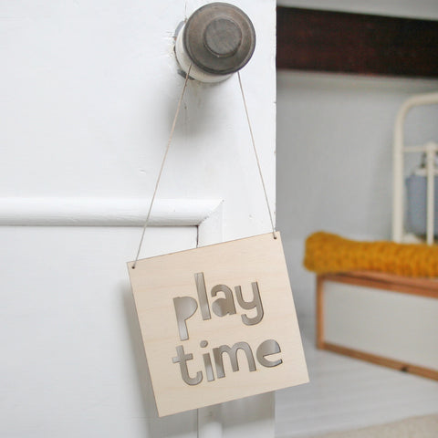 Play Time Wooden Hanging Sign