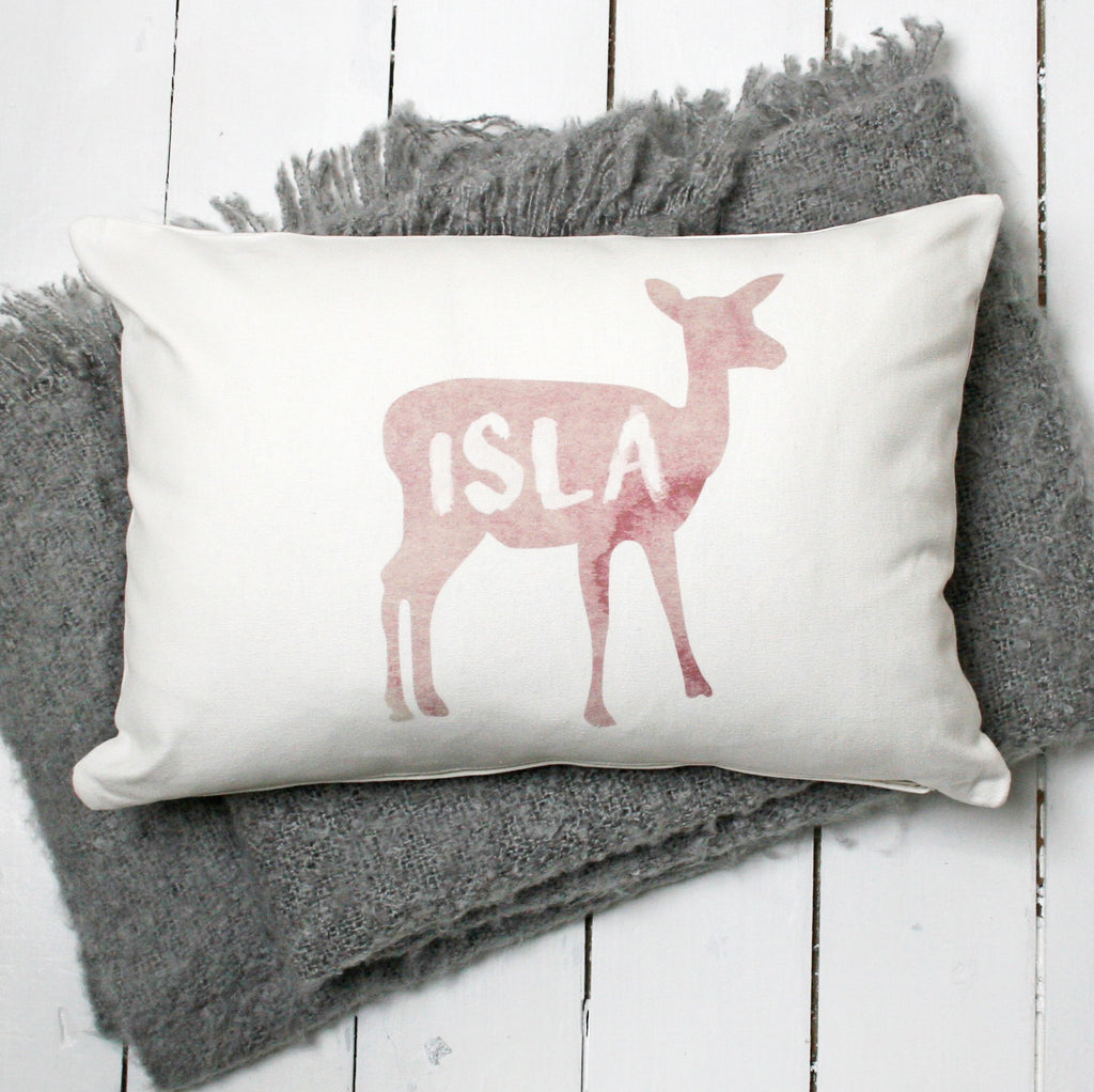 Personalised Watercolour Deer Name Cushion