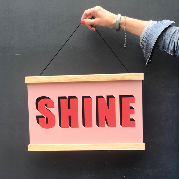 SHINE Hanging Poster Print In Red and Pink