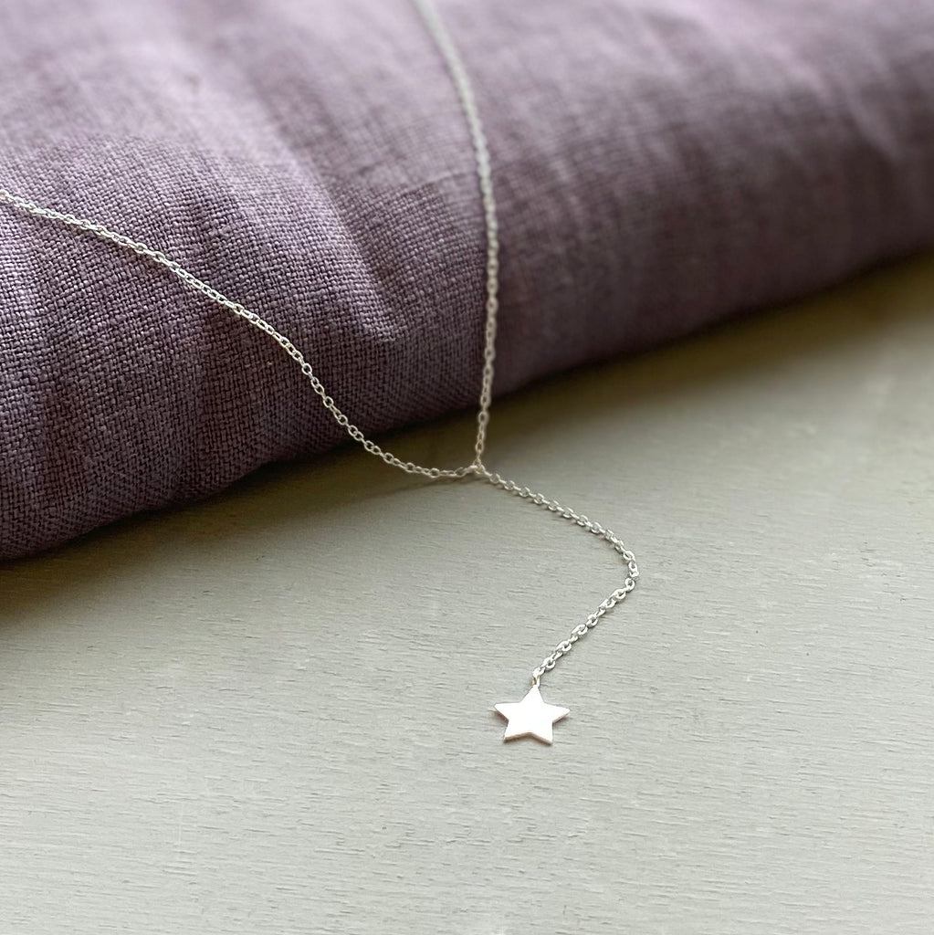 Sterling Silver Star Drop Necklace