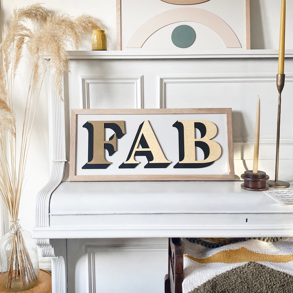 One Word Gold Painted Sign - Medium