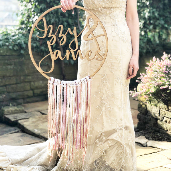 Personalised Wedding Boho Fringe Hoop