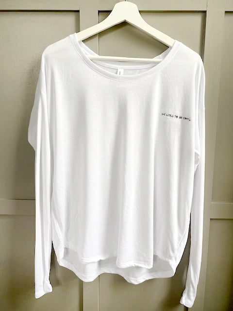 White Long Sleeve Slouchy Tee - sample sale