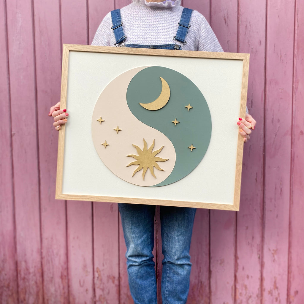 Celestial Yin Yang Painted Wooden Sign