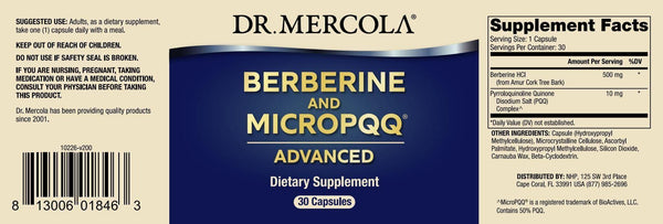 Berberine and MicroPQQ Advanced  | Dr Mercola | 30 Capsules - Oceans Alive Health