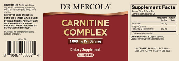 Carnitine Complex | Dr Mercola | 60 Capsules - Oceans Alive Health