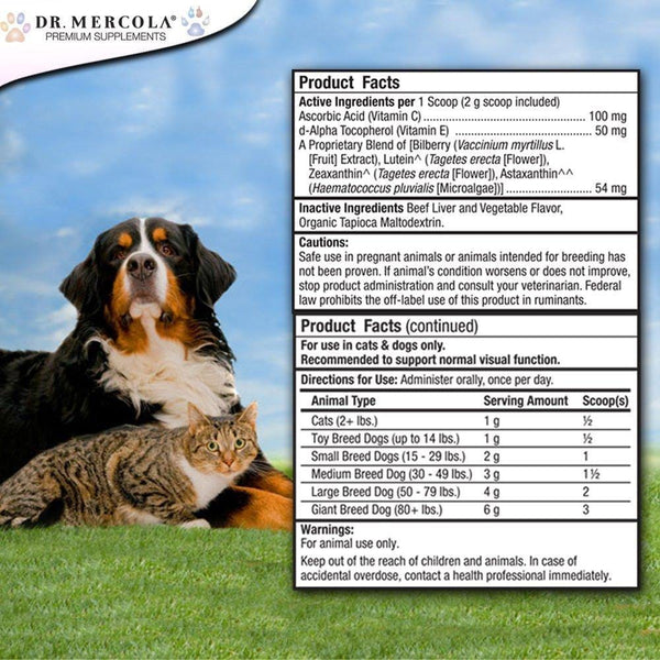 Eye Support for Pets info - Dr Mercola - 180g