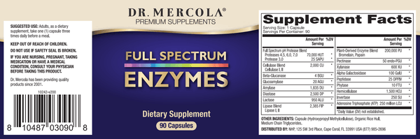 Full Spectrum Enzymes label - Dr Mercola - 90 Capsules