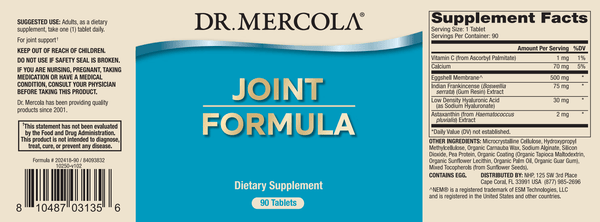Joint Formula new label - Dr Mercola - 90 Tablets