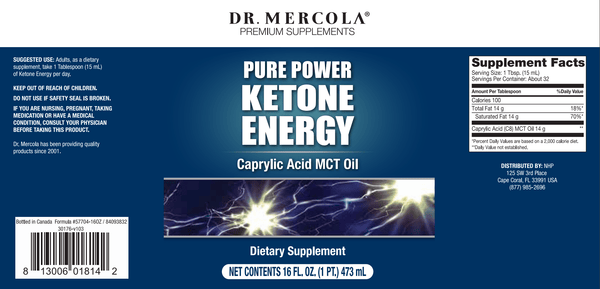 Ketone Energy MCT Oil label - Dr Mercola - 473ml