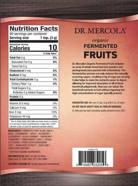 Organic Fermented Fruits | Dr Mercola | 270g (90 Servings) - Oceans Alive Health