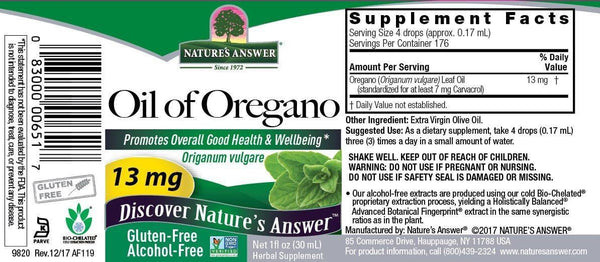 Oil of Oregano label - Nature's Answer - 30ml