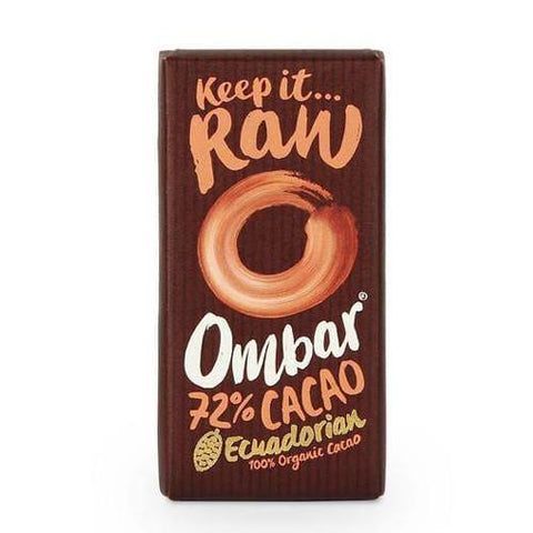 Ombar Organic Raw Chocolate | Dark 72%  | 70g - Oceans Alive Health