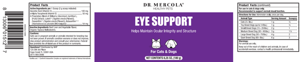 Eye Support for Pets label - Dr Mercola - 180g