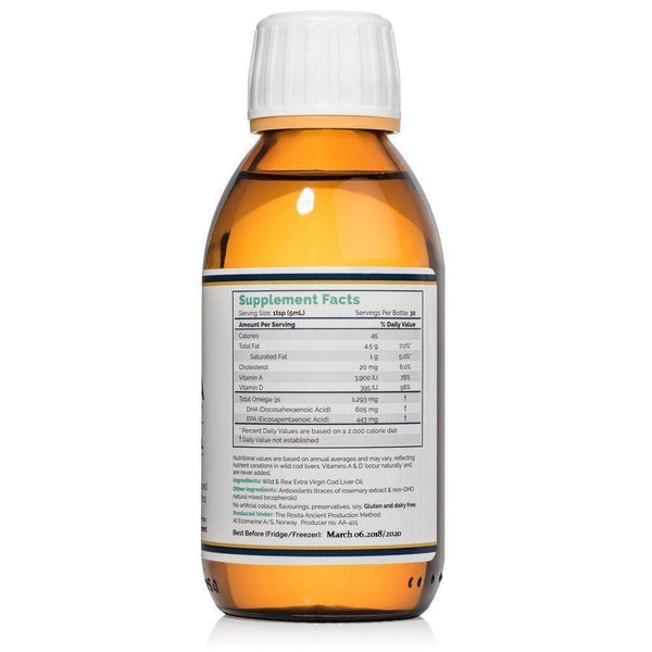 Extra Virgin Cod Liver Oil (EVCLO) nutritional facts - Rosita - 150 ml