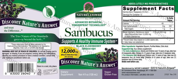 Sambucus (Black Elderberry) | Nature's Answer | 120ml - Oceans Alive Health