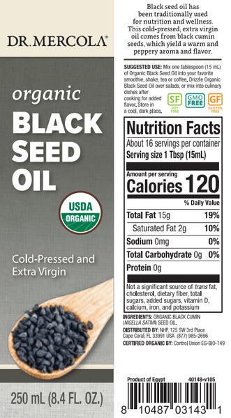 Organic Black Seed Oil - Dr Mercola - 250ml label