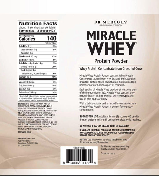 Miracle Whey Protein Powder | Dr Mercola | Chocolate | 454g - Oceans Alive Health