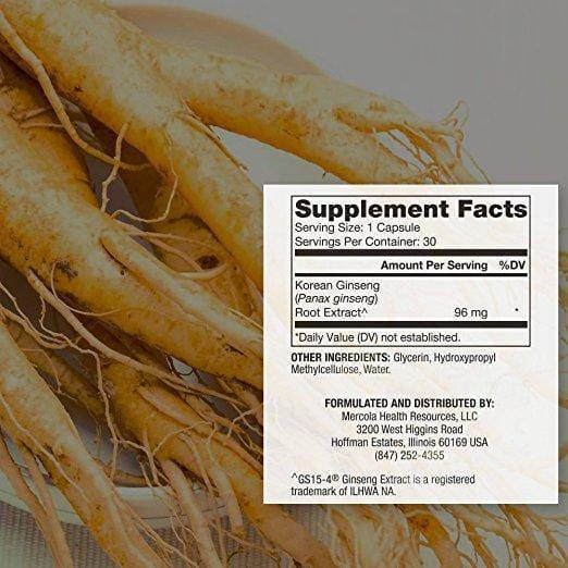Fermented Ginseng Label - Dr Mercola - 30 Caps