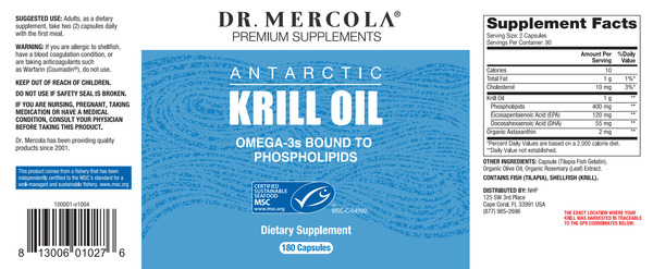 Krill Oil label - Dr Mercola - 180 Caps